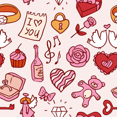 doodle valentines pattern