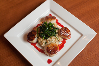 Pan Seared Scallops with Blood Orange Gastrique and Basil Risotto
