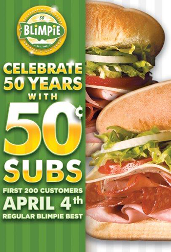 Blimpie, America's Sub Shop, Turns 50!