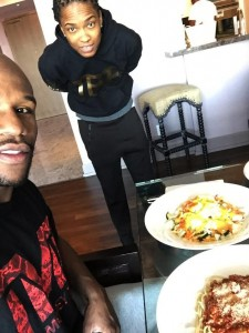 Floyd Weather JR. Eating a Tasty Lunch by Chef Q