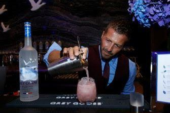 GREY GOOSE's Guillaume Jubien creating the GREY GOOSE High Five Cocktail at the Body at ESPY's Pre-Party