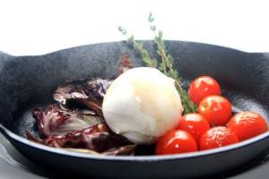 Wood fired radicchio (burrata, cherry tomatoes, balsamic reduction)