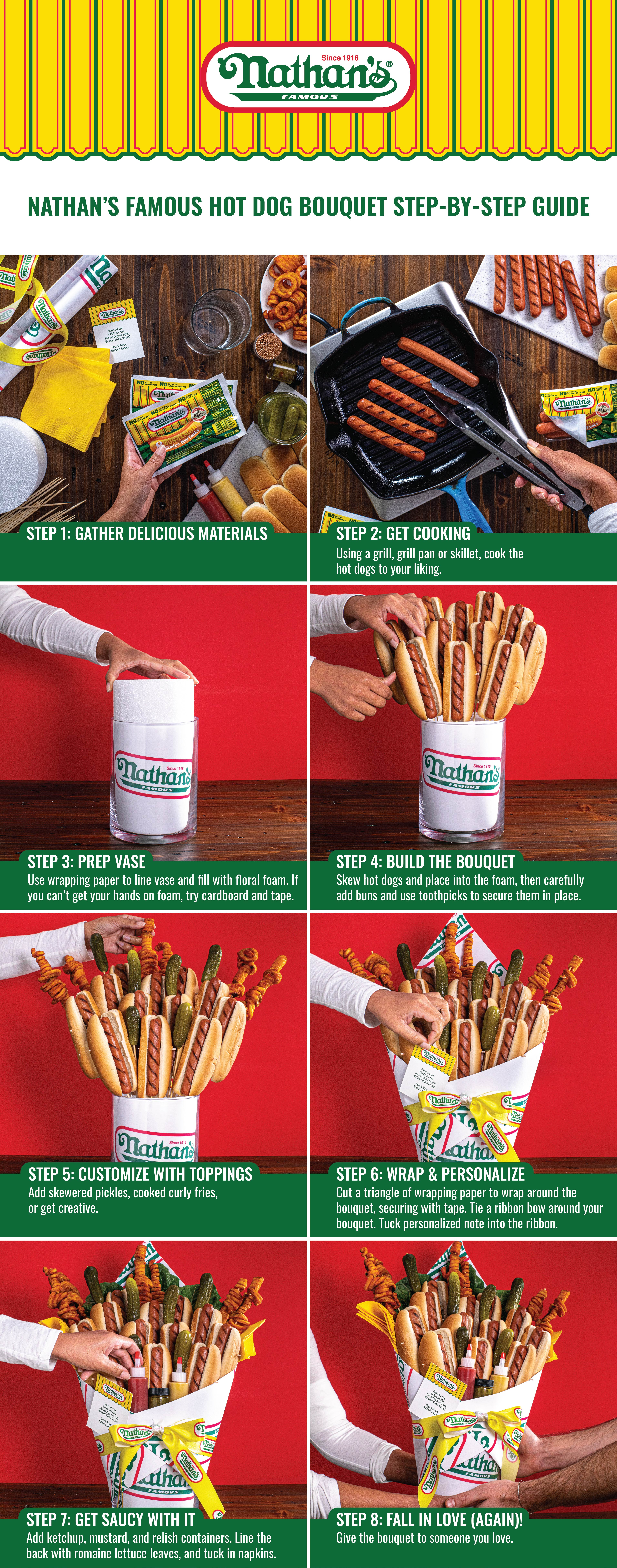 Nathan's Famous Releases Hot Dog Bouquet Tutorial for an Unexpected Gift This Valentine's Day