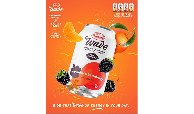 Ocean Spray Launches Ocean Spray Wave™, a Caffeinated Sparkling Water with Real Fruit Juice, exclusively launching at Walmart